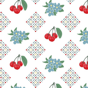 1940's Style Kitchen Cherry Wallpaper in White: Large Print