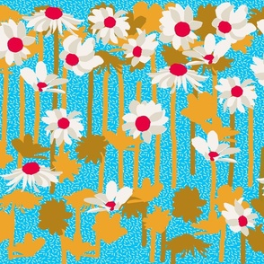 Large scale Retro Daisies_tea party colorway