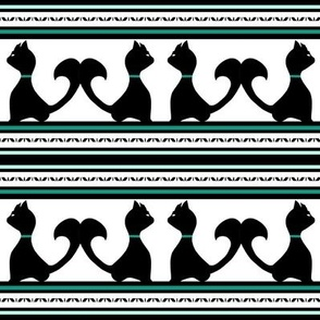 Black Cat Silhouette with Teal, Black, White Stripes for Halloween