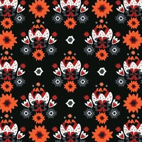 Bohemian Black Red Floral