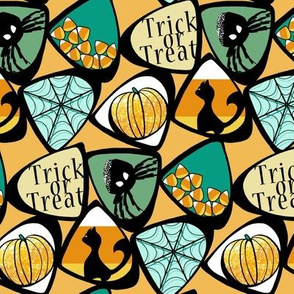 Halloween Candy Corn with Cat, Spider, Web, Pumpkin in Teal, Green, Orange