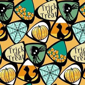 Halloween Candy Corn with Cat, Spider, Web, Pumpkin in Teal, Green, Orange