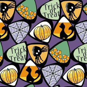 Halloween Candy Corn with Cat, Spider, Web, Pumpkin in Purple, Green, Orange