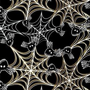 Black Spider in Yellow, White Spiderweb for Halloween