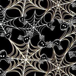 Black Spider in Yellow, White Spiderweb for Halloween