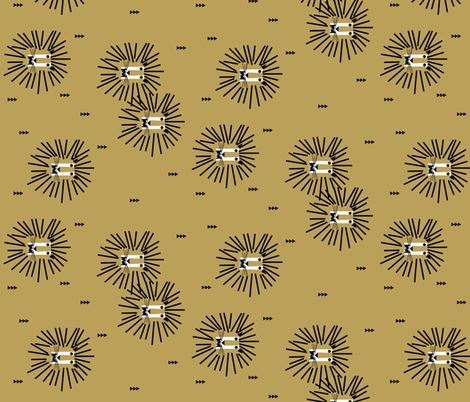 Lion head - mustard rotated fabric by sunny_afternoon on Spoonflower - custom fabric