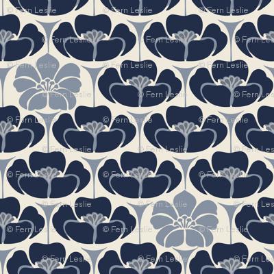 1920s Floral -  Indigo, blue