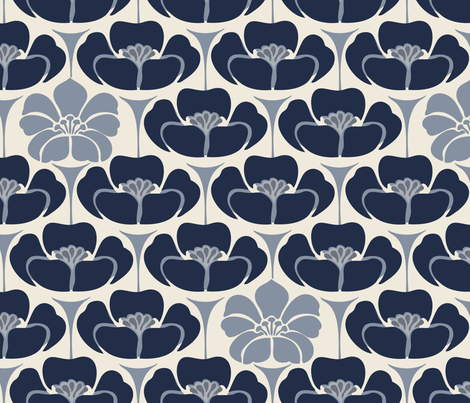 1920s Floral -  Indigo, blue fabric by fernlesliestudio on Spoonflower - custom fabric