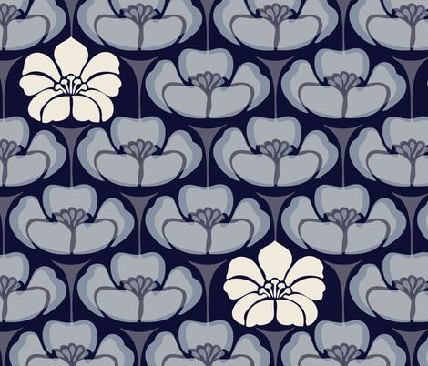 1920s Floral - Indigo fabric by fernlesliestudio on Spoonflower - custom fabric