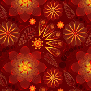 Red stylized flowers