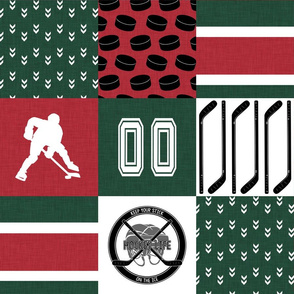 Hockey//Keep your stick on the ice//Minnesota - Wholecloth Cheater Quilt