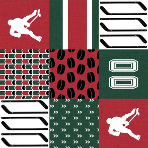 Hockey//Keep your stick on the ice//Minnesota - Wholecloth Cheater Quilt -Rotated
