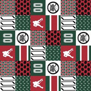 3 inch Hockey//Keep your stick on the ice//Minnesota - Wholecloth Cheater Quilt - Rotated