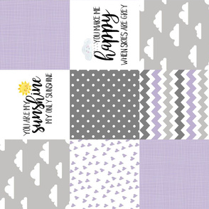 You are my sunshine//Lavender - Wholecloth Cheater Quilt - Lavender