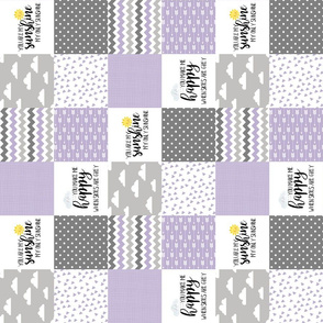 3 inch You are my sunshine//Lavender - Wholecloth Cheater Quilt - Rotated
