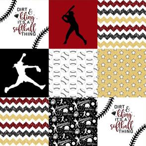 Softball//Gold&Crimson - Wholecloth Cheater Quilt