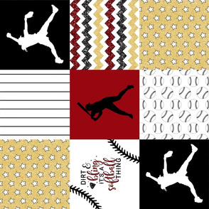 Softball//Gold&Crimson - Wholecloth Cheater Quilt - Rotated