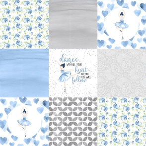 Ballerinas//Bluebell - Wholecloth Cheater Quilt
