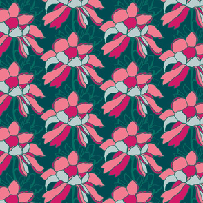 Colour block floral on emerald green