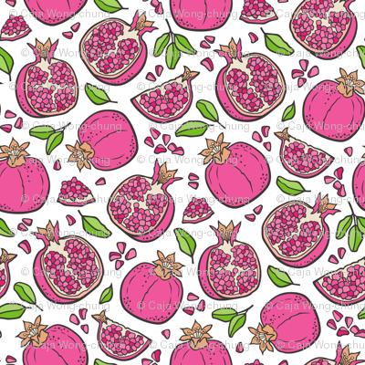 Pomegranate Dark Pink on White