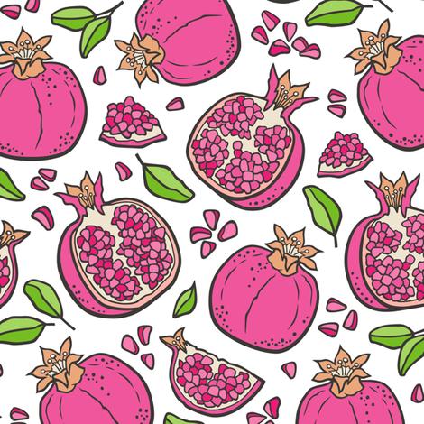 Pomegranate Dark Pink on White fabric by caja_design on Spoonflower - custom fabric