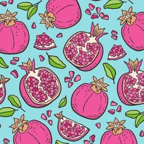 Pomegranate Dark Pink on Blue