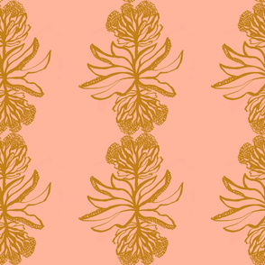 Pretty floral vertical stripe on pale coral