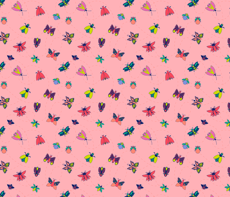 Bright Bugs and Butterflies - Pink fabric by sazerelli_designs on Spoonflower - custom fabric