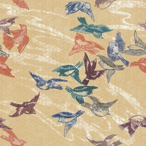Tumbling Sparrows Japonica colorway