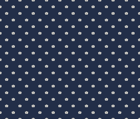 Floral Sparse - Cream, IIndigo fabric by fernlesliestudio on Spoonflower - custom fabric