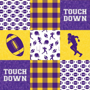 touch down - football wholecloth - purple and gold - college ball -  plaid
