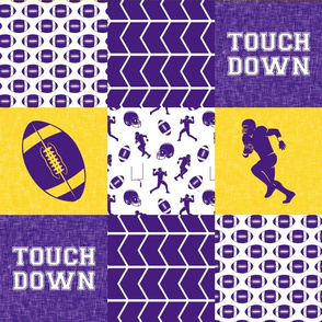 touch down - football wholecloth - purple and gold - college ball - chevron