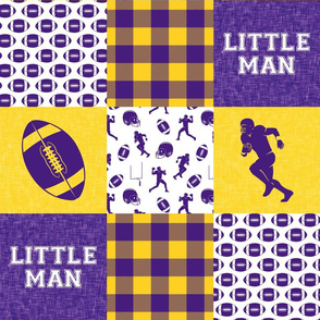 Little Man - Football Wholecloth - Purple and Gold