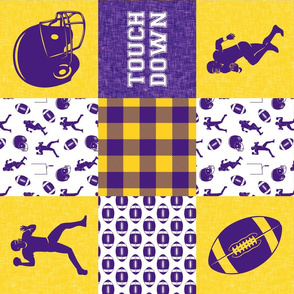 touch down - football wholecloth - purple and gold - college ball -  plaid (90)