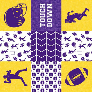 touch down - football wholecloth - purple and gold - college ball - chevron (90)