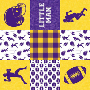 Little Man - Football Wholecloth - Purple and Gold (90)