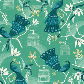 Aviary  - Peacock Chinoiserie Green