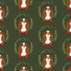 christmas cavalier king charles spaniel wreath - dog, dogs, wreath, christmas, xmas, dog breeds