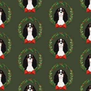 christmas cavalier king charles spaniel wreath - dog, dogs, wreath, christmas, xmas, dog breeds tricolored