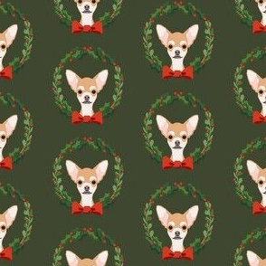 christmas chihuahua fabric - dog, dogs, wreath, noel, yule, red and green, holiday christmas fabric
