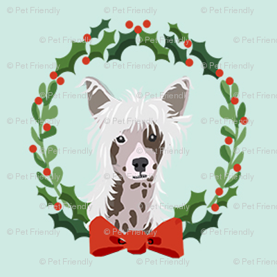 christmas chinese crested fabric - dog, dogs, wreath, noel, yule, red and green, holiday christmas fabric