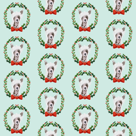 christmas chinese crested fabric - dog, dogs, wreath, noel, yule, red and green, holiday christmas fabric fabric by petfriendly on Spoonflower - custom fabric