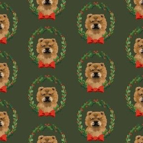 christmas chow chow fabric - dog, dogs, wreath, noel, yule, red and green, holiday christmas fabric