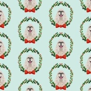christmas cocker spaniel fabric - dog, dogs, wreath, noel, yule, red and green, holiday christmas fabric