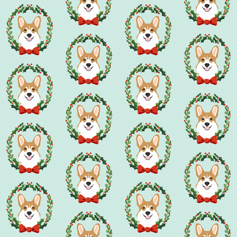 christmas corgi fabric - dog, dogs, wreath, noel, yule, red and green, holiday christmas fabric fabric by petfriendly on Spoonflower - custom fabric