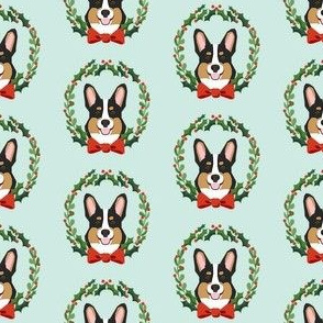 christmas corgi fabric - dog, dogs, wreath, noel, yule, red and green, holiday christmas fabric