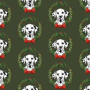 christmas dalmatian fabric - dog, dogs, wreath, noel, yule, red and green, holiday christmas fabric