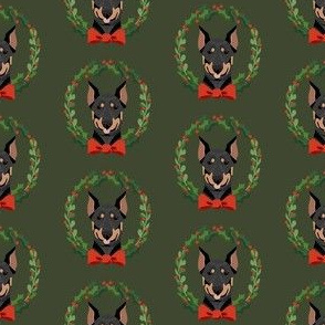 christmas doberman fabric - dog, dogs, wreath, noel, yule, red and green, holiday christmas fabric