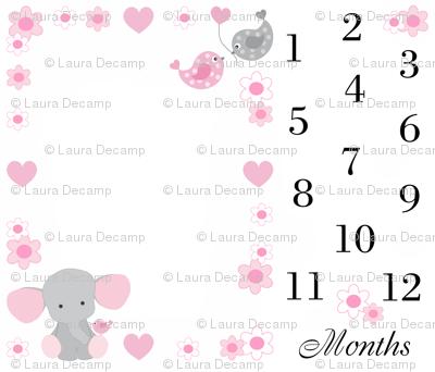 Pink Elephant Baby Girl Milestone Month Blanket