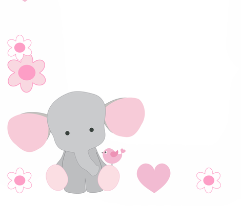 Pink Elephant Baby Girl Milestone Month Blanket fabric by decamp_studios on Spoonflower - custom fabric